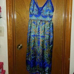 Dresses & Skirts - Sexy Blue Silk Jeweled Top Dress